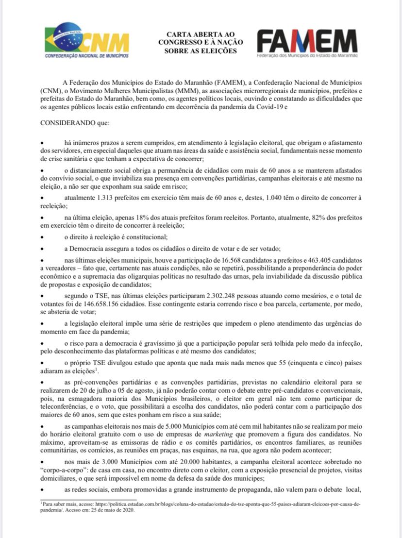 Famem envia carta ao Congresso Nacional pedindo adiamento da eleição de prefeitos e vereadores para 2022
