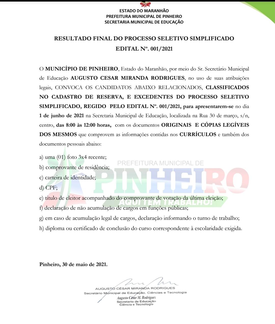 Secretaria de Educação de Pinheiro publica terceira lista de convocação de candidatos para contratação de professores…