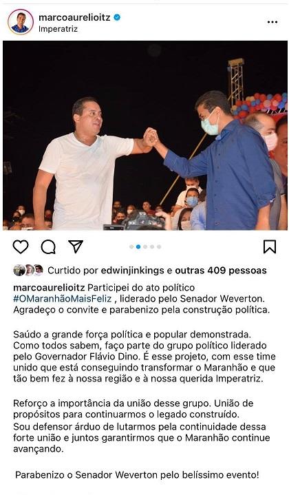 Eleições 2022 – Deputado 'comunista' recua do apoio ao Weverton depois da pressão de Flávio Dino…